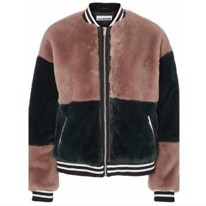 asos faux fur color block bomber jacket